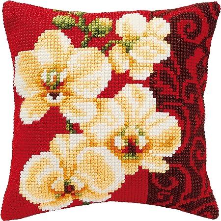 Cuscini Ricamati A Punto Croce.Vervaco Kit Per Cuscino Ricamato A Punto Croce Orchidea Amazon