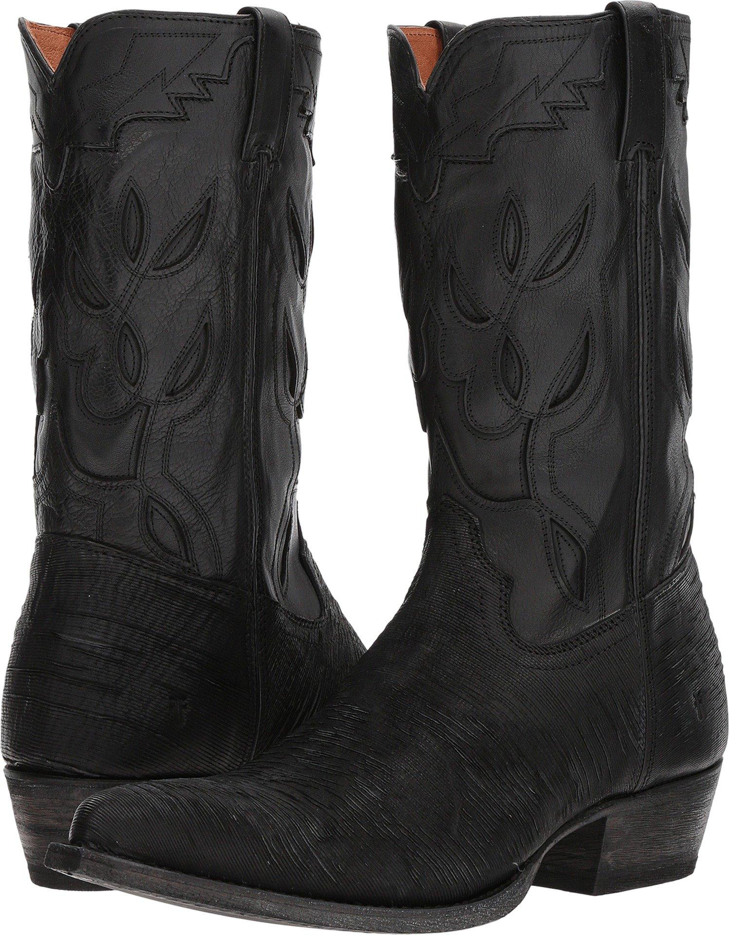 FRYE Men's Cheyenne 11L Black Multi Cut Vintage Leather/Full Grain Brush-Off 9.5 D US