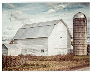Rustic Farmhouse Wall Art Home Decor Art Print (Not Framed). Country Rustic White Barn Landscape in Fall. Beige, Tan, Gold. (11x14 Print Only)