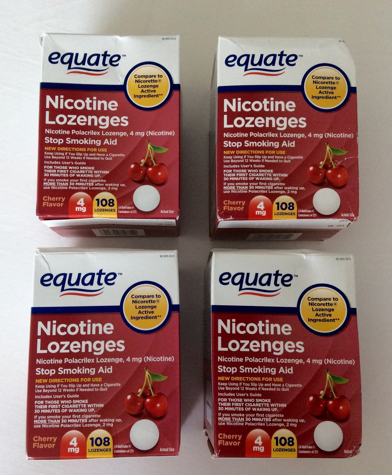 Equate - Nicotine Lozenge 4mg, Cherry Flavor, Lozenges, 108-count, Pack of 4