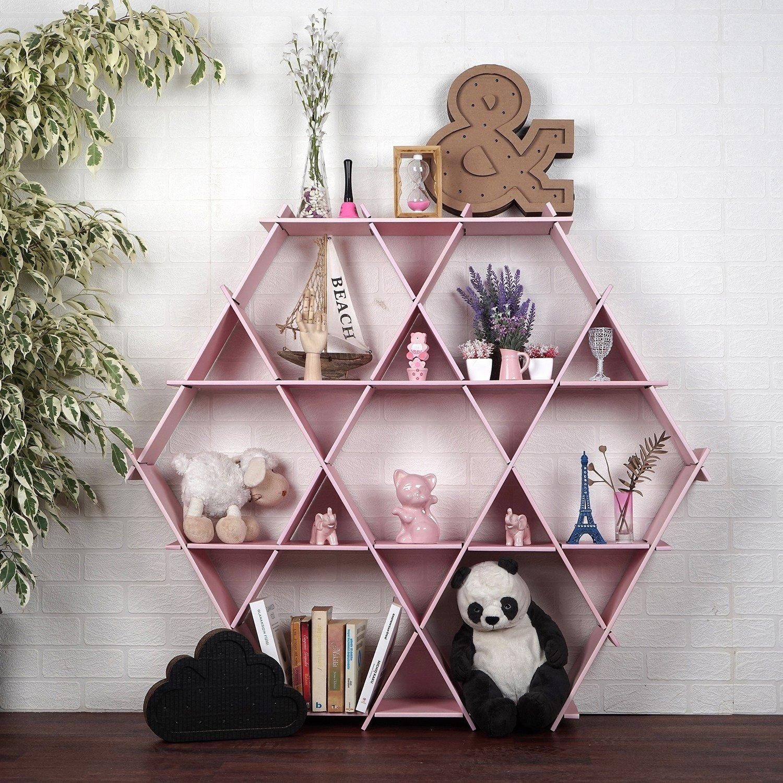 LaModaHome Cardboard Shelf 100% Corrugated Cardboard (45.3'' x 39.4'' x 6.7'') Beach Pink Hexagon Triangle Decorative Design Storage Shelf Multi Purpose