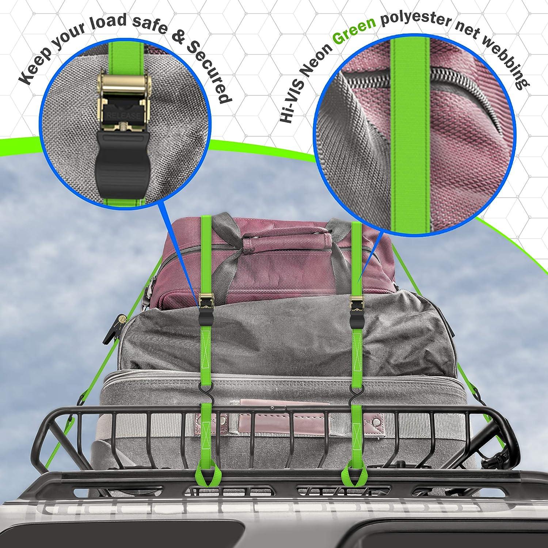 15/FT correas y suave Loops/ /Prima Funda De Transporte /4/unidades incluye hebillas ganchos Carga Correas de amarre con trinquete/ /500lb carga resistencia y fuerza de rotura 1500lb/