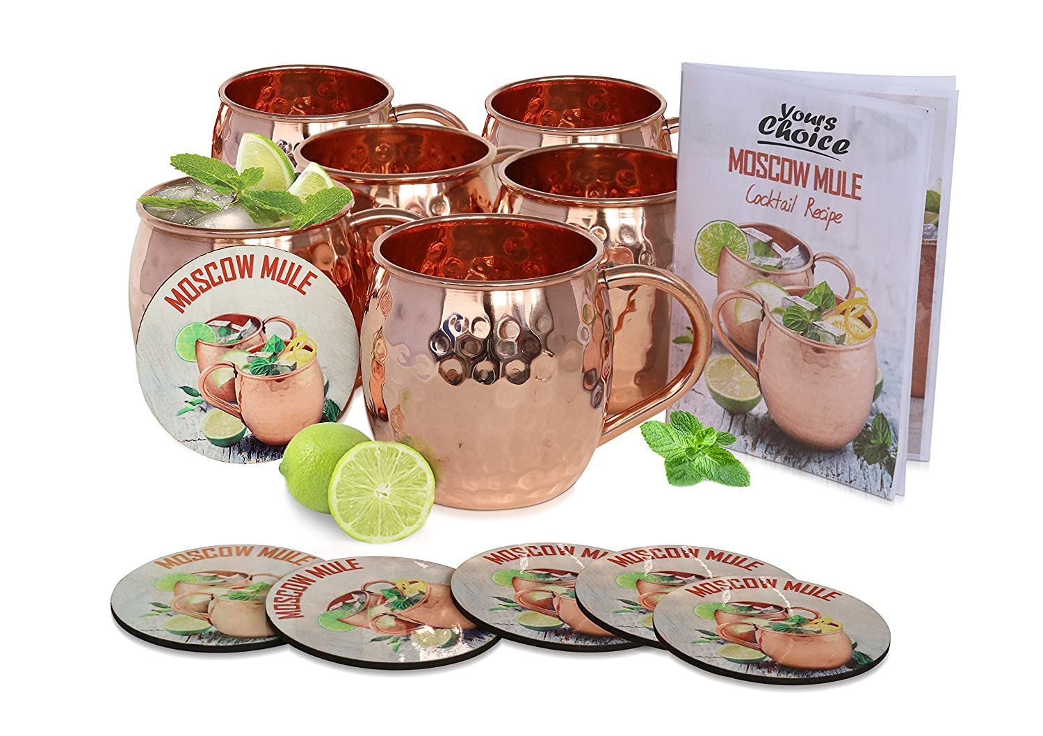 Moscow Mule Solid 100 % Pure Copper Unlined Mug / Cup, Set of 6 (16-Ounce, Hammered) & 6 Printed Cardboard Coaster with Cocktail Recipe Book YoursChoice MUG007-6-coaster