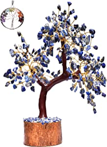 Crystals Healing Stones Lapis Natural Healing Gemstone Bonsai Fortune Money Vastu Tree for Good Luck, Wealth Prosperity-Home Office Decor Spiritual Gift Golden Wire and 300 Beads Size 10-12 Inch