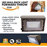 55W Wall Pack LED - 6238 Lumens, LED Powered Outdoor Wall Pack Lights - Commercial or Industrial Security Lighting - 5000K - (UL + DLC)