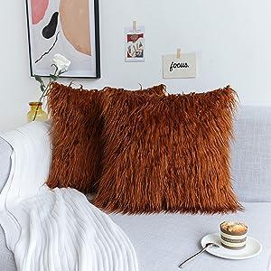 Kevin Textile Decor Soft Plush Faux Fur Pillow Cover Cushion Case for Sofa Bedroom Car, 2 Pc, 18 x 18 Inch 45 x 45 cm, Meerkat Brown