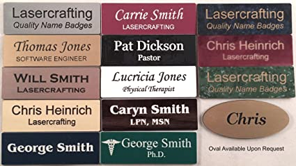 amazon com business name tag id badge personalized laser