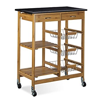 relaxdays 10020314 carrello da cucinaper cucina in legno di bamb con superficie