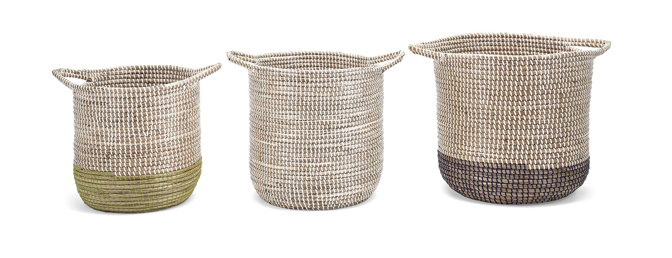 Round Basket with Handles Set of 3 Multicolor