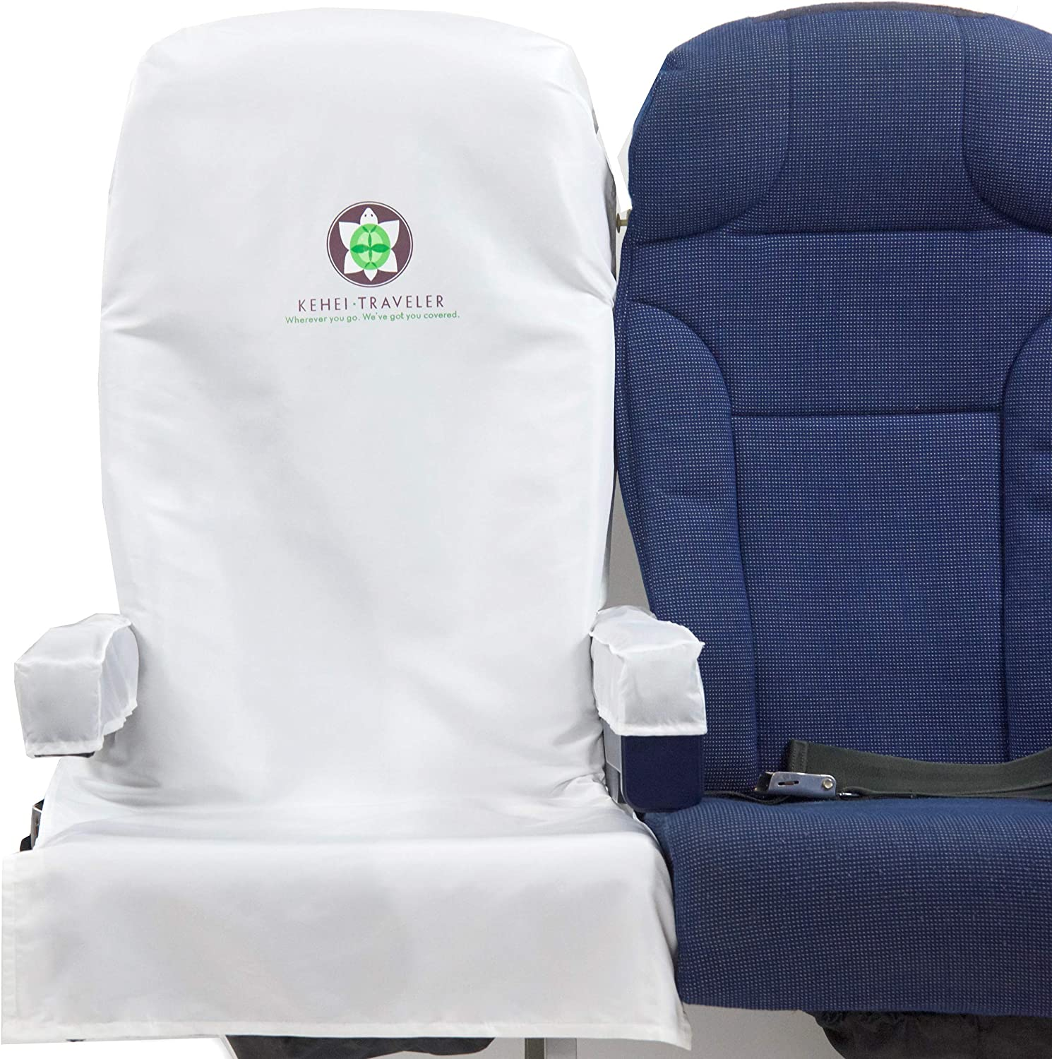 Washable Reusable Bus Fit Most Train Ride-Share Car Cotton Blend White Kehei Traveler Premium Protective Airplane Seat Cover with Arm Rest and Tray Table Covers /& Pouch Other Public Seating