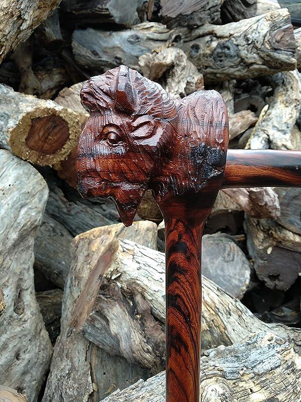 Walking cane Bighorn design carved walking stick handmade in desert ironwood custom hand engraving