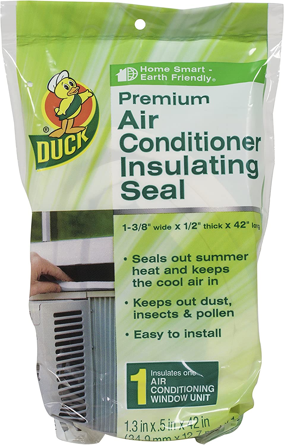 Duck Brand Premium Window Air Conditioner Insulating Foam Seal, 1.3-Inch x 0.5-Inch x 42-Inch, 1-Pack, 282088