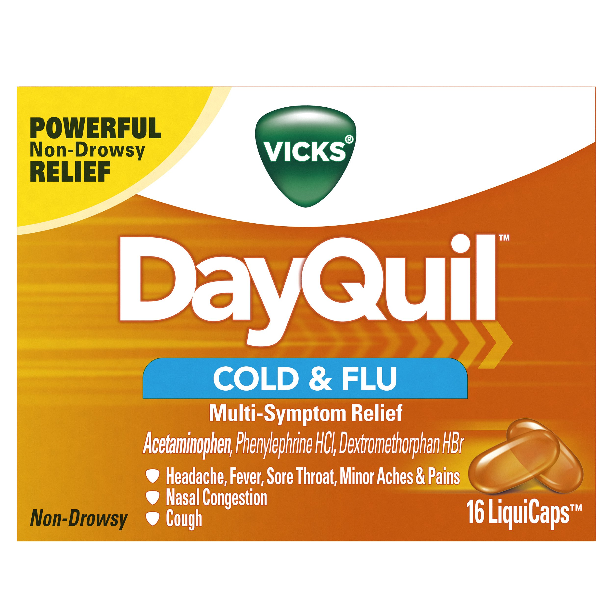 Vicks Dayquil Cold & Flu Multi-Symptom Relief 16 Liquicaps, 16 Count (Pack of 24)