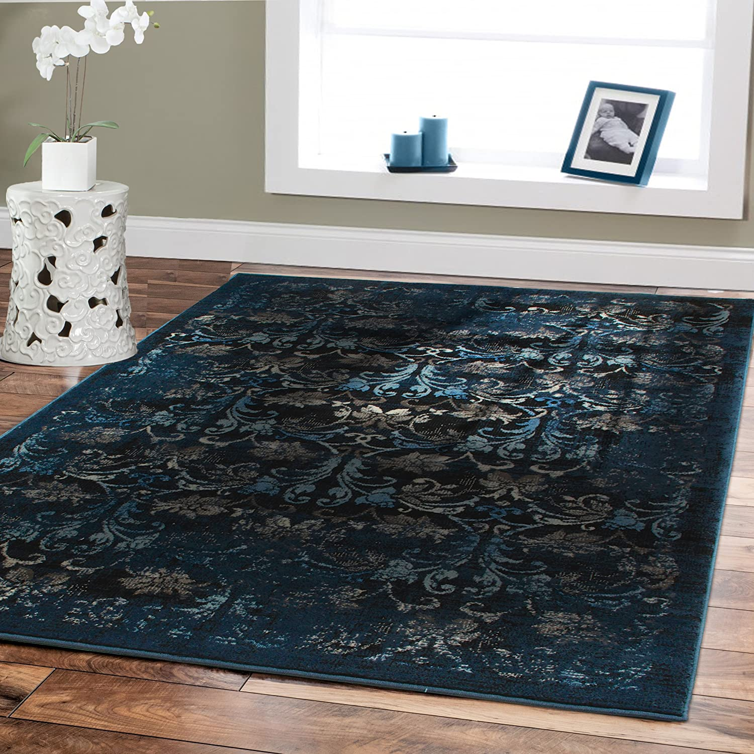 navy blue rugs fullxfull rectangle il zoom luxurious nonslip rug area rich listing shaggy