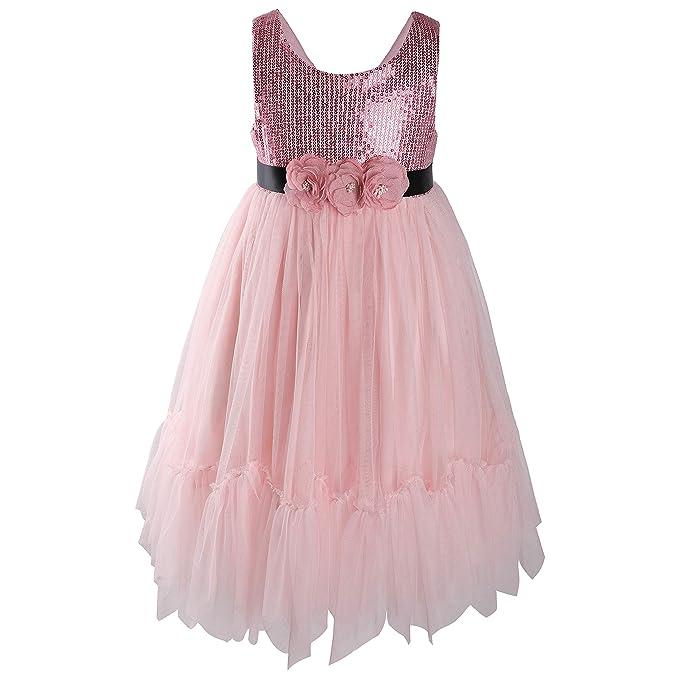3d6d11e52a362 Flofallzique Sequin Little Girls Dress Tulle Tutu Flower Toddler Sundress  for Wedding Party