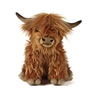 Living Nature Soft Toy - Large Plush Highland Cow with Sound (30cm)