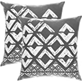 TreeWool, (Pack of 2) Cotton Canvas Squares Geometric Accent Decorative Cushion Covers (40 x 40 cm, Graphite)