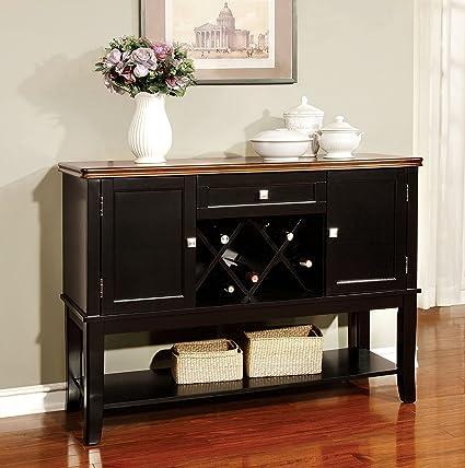 Furniture Of America Macchio Transitional Dining Buffet Server Cherry Black