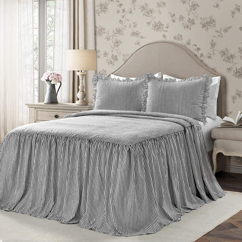 Lush Decor Lush Décor Ticking Stripe Bedspread Black Shabby Chic Farmhouse Style Lightweight 3 Piece Set Queen