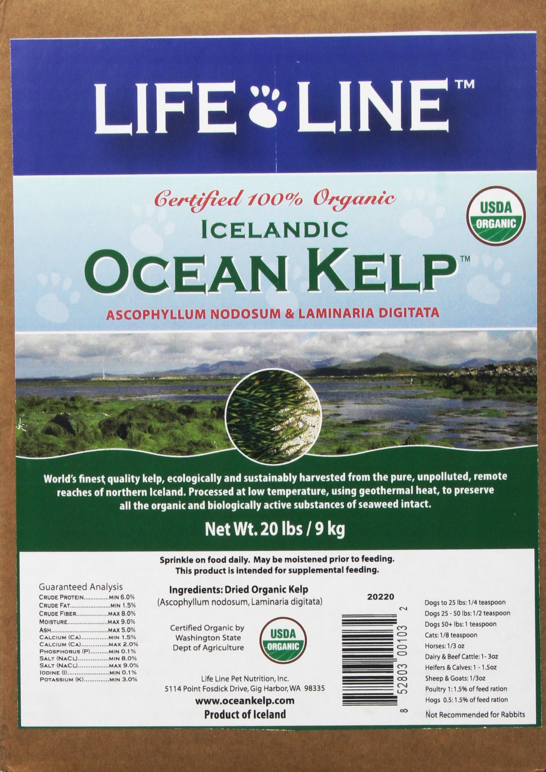 Life Line Organic Ocean Kelp Dog and Cat Supplement, 20-Pounds