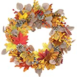 Emlyn Silk Spring Door Wreath approximately 17-18 Inch Silk Front Door Wreath For Summer And Fall Wreath Display, Handcrafted With Care,Year Round Vintage Eucalyptus Leaves Wreath