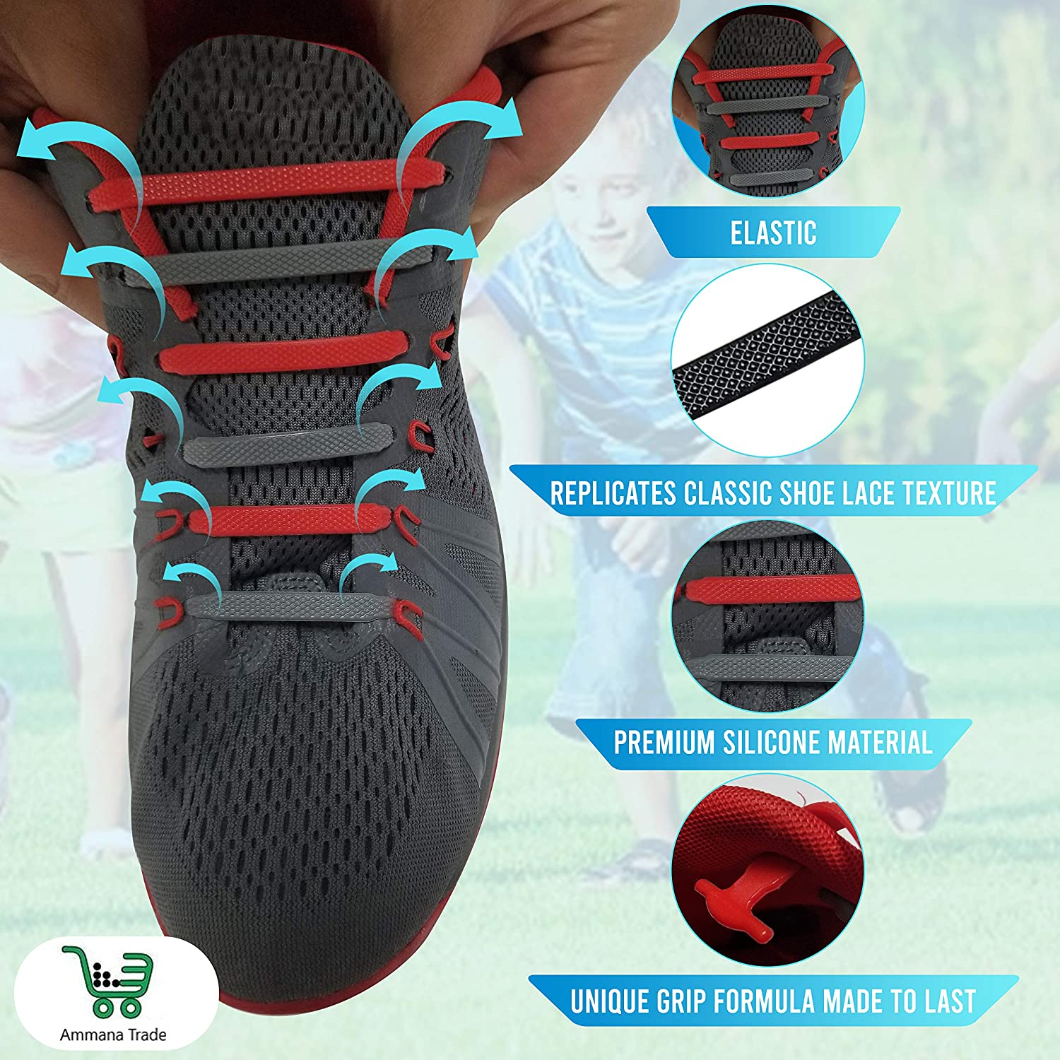 Stretch Silicone Tie Less Elastic Shoelaces for Sneakers Ammana Trade Elastic No Tie Shoelaces
