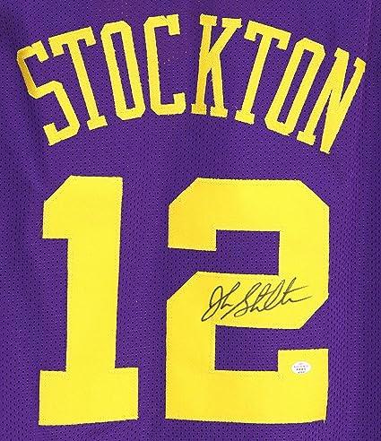 reputable site e60ea de076 John Stockton Utah Jazz Signed Autographed Purple #12 Custom ...