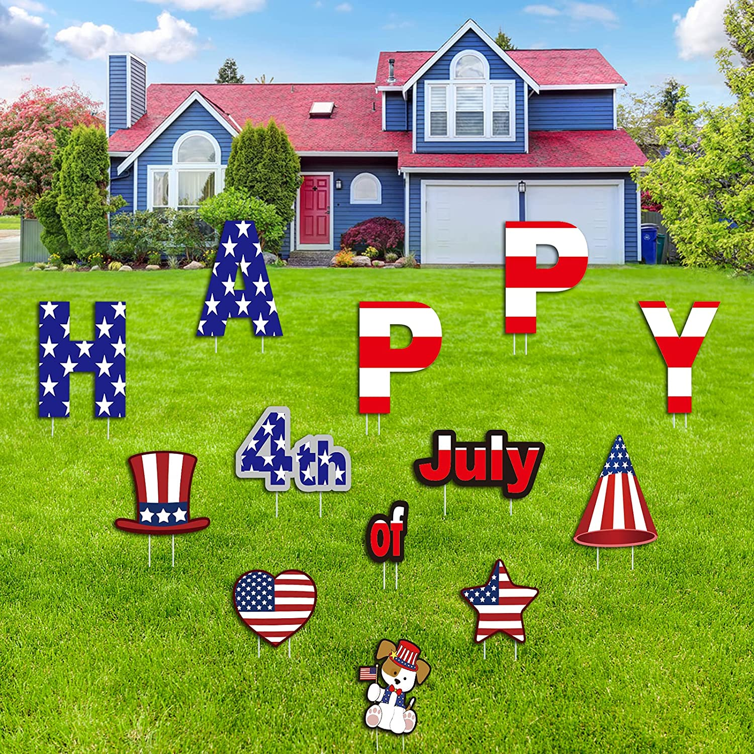 FilmHoo 13 PCS 4th of July Decor - Independence Day Yard Signs for Home/Outdoor Lawn Decorations with Plastic Stakes - Memorial Day Labor Day USA Patriotic Party Yard Signs