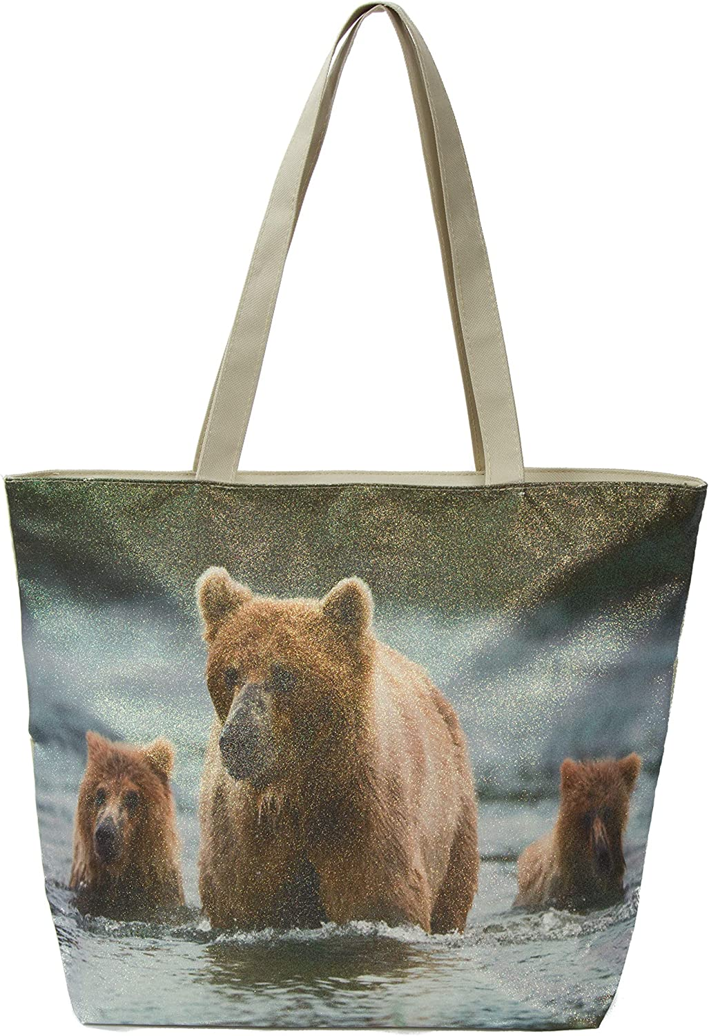 "Leisureland Glitter Tote Bag, Travel Tote Bag, Water Resistant Beach Bag (L17""xH13""xW4"", Glitter Bear)"
