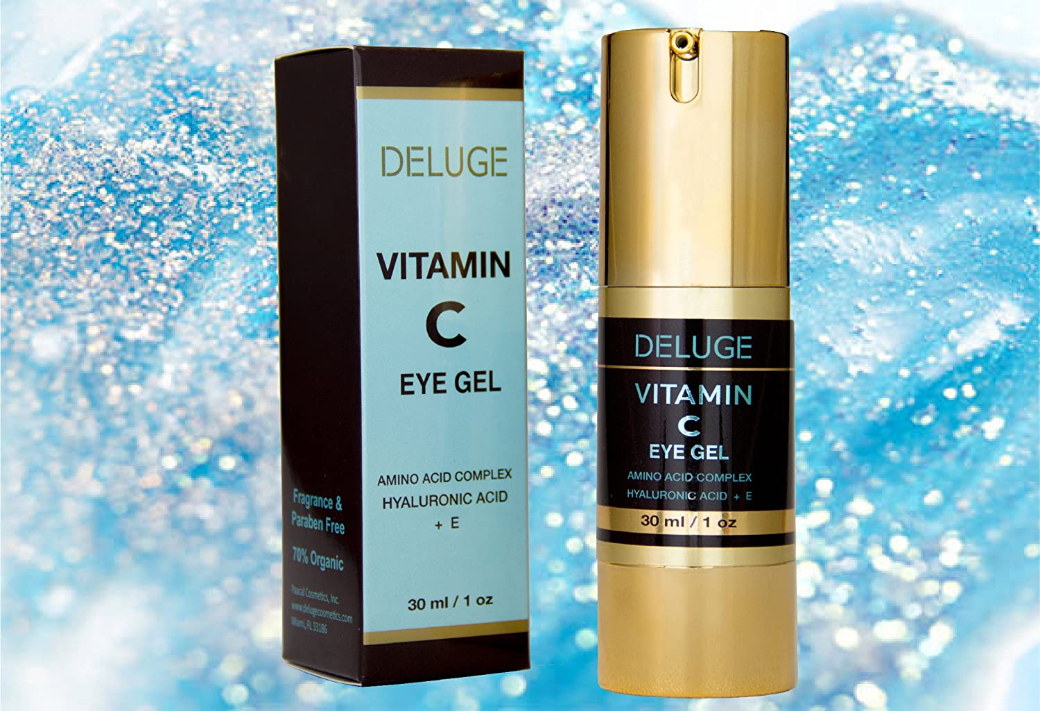 Amazon.com: DELUGE -Vitamin C Eye Gel with Hyaluronic Acid + E + Amino Acid Complex. Dark Circles, Puffiness, Bags and Wrinkles: Beauty
