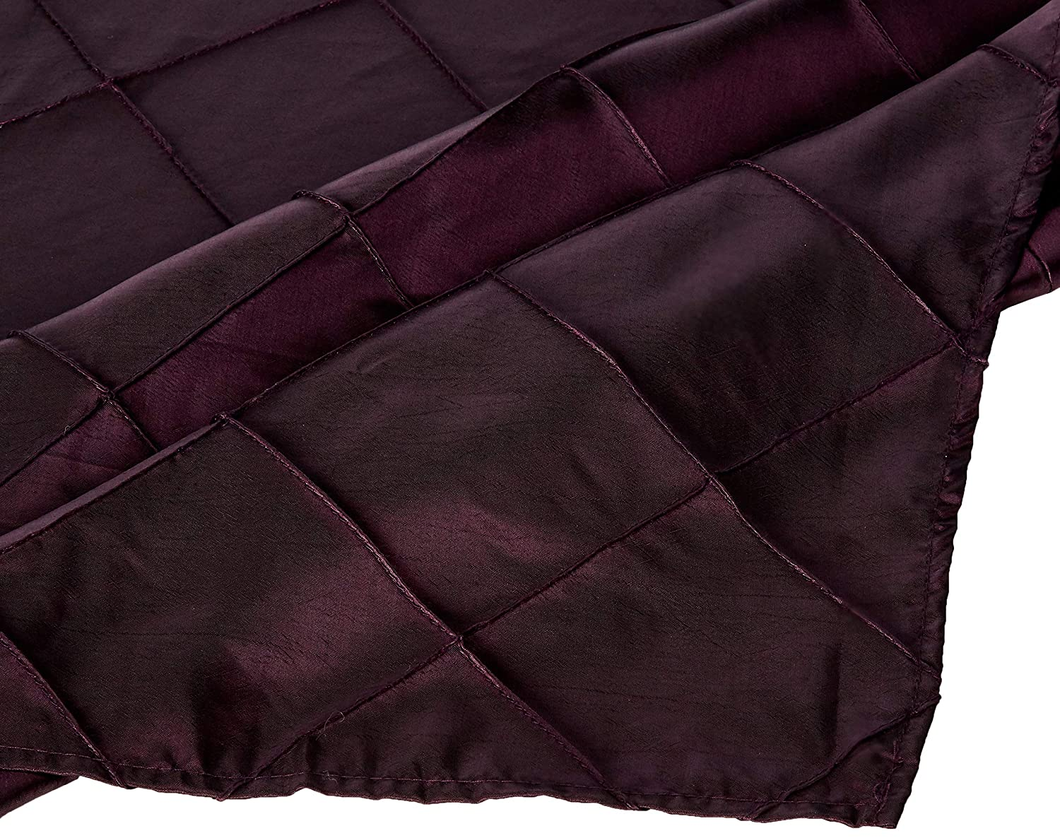 LinenTablecloth Square Pintuck Overlay Eggplant 60