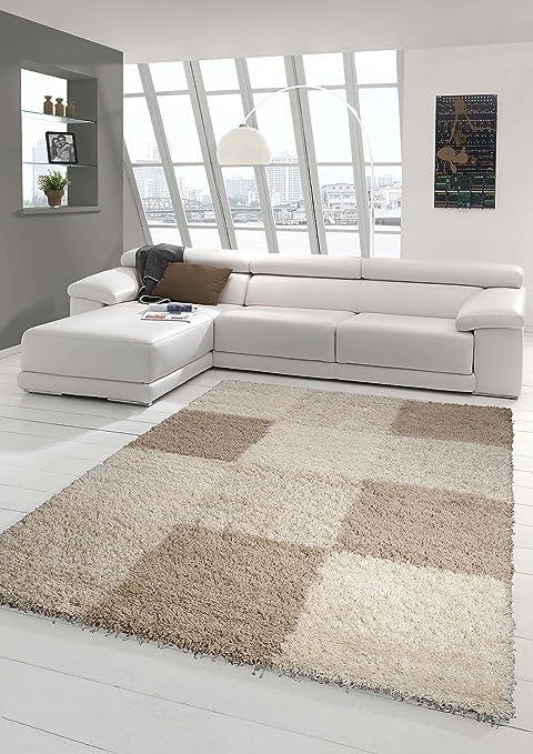 Shaggy Teppich Hochflor Langflor Teppich Wohnzimmer Teppich Gemustert in  Karo Design Braun Taupe Beige Größe 80x150 cm