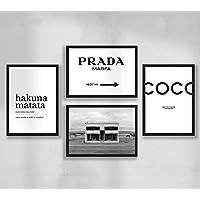 Decoración de pared - Juego de póster de pared de pósteres de sala de estar premium, tamaño A4, sin marco, Prada Marfa…