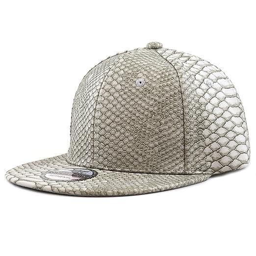 THE HAT DEPOT 1300 Snakeskin PU Leather Snapback Plain Cap (Grey2 ... 7ec265b29d1