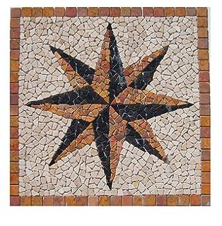 Divero Fliesen Rosone Sonne Naturstein Mosaik Marmor Dekorativ Grau