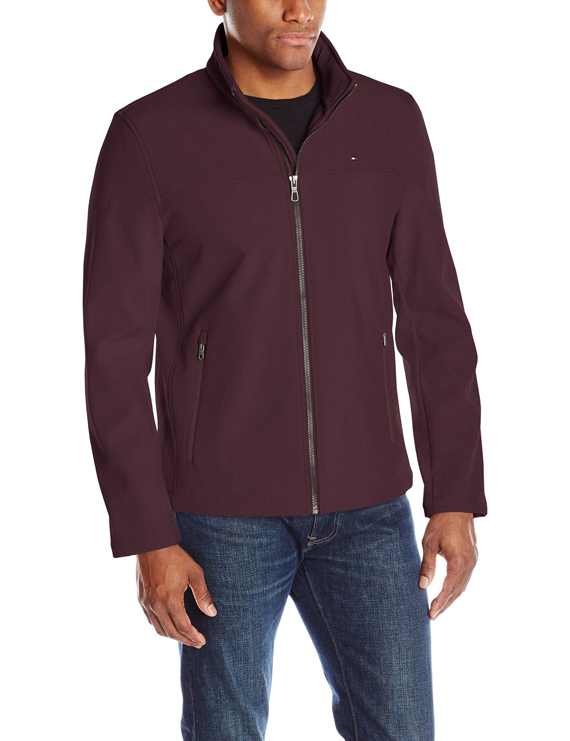 Tommy Hilfiger Men's Classic Soft Shell Jacket, Wine, Large by Tommy Hilfiger