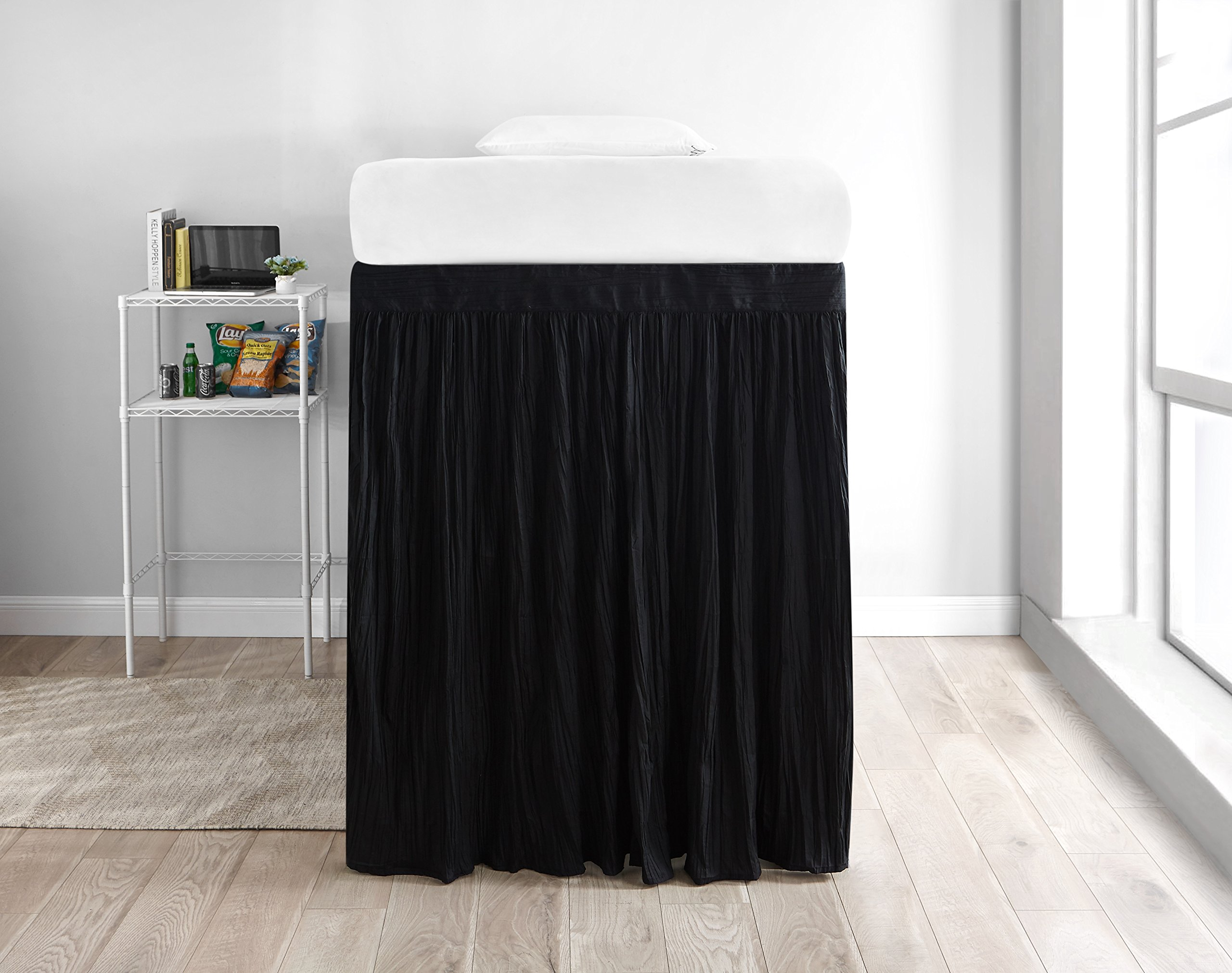 Crinkle Extended Dorm Sized Bed Skirt Panel with Ties (1 Panel) - Black (For raised or lofted beds)
