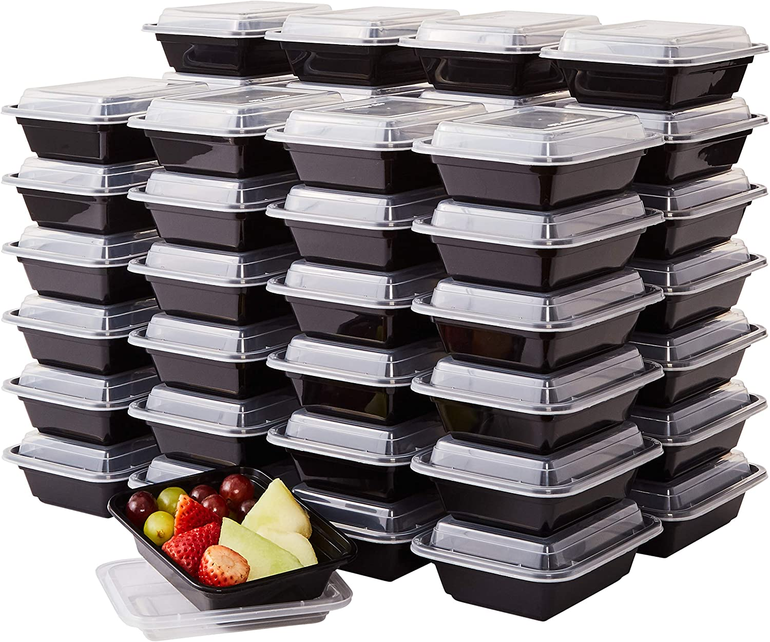 Pro Grade, BPA Free Plastic Containers with Lids, 50ct. 12oz, Leakproof, Microwavable Portion Container for To-Go Orders, Food Prep and Storage. Reusable Bento Boxes for Restaurant, Cafe and Catering
