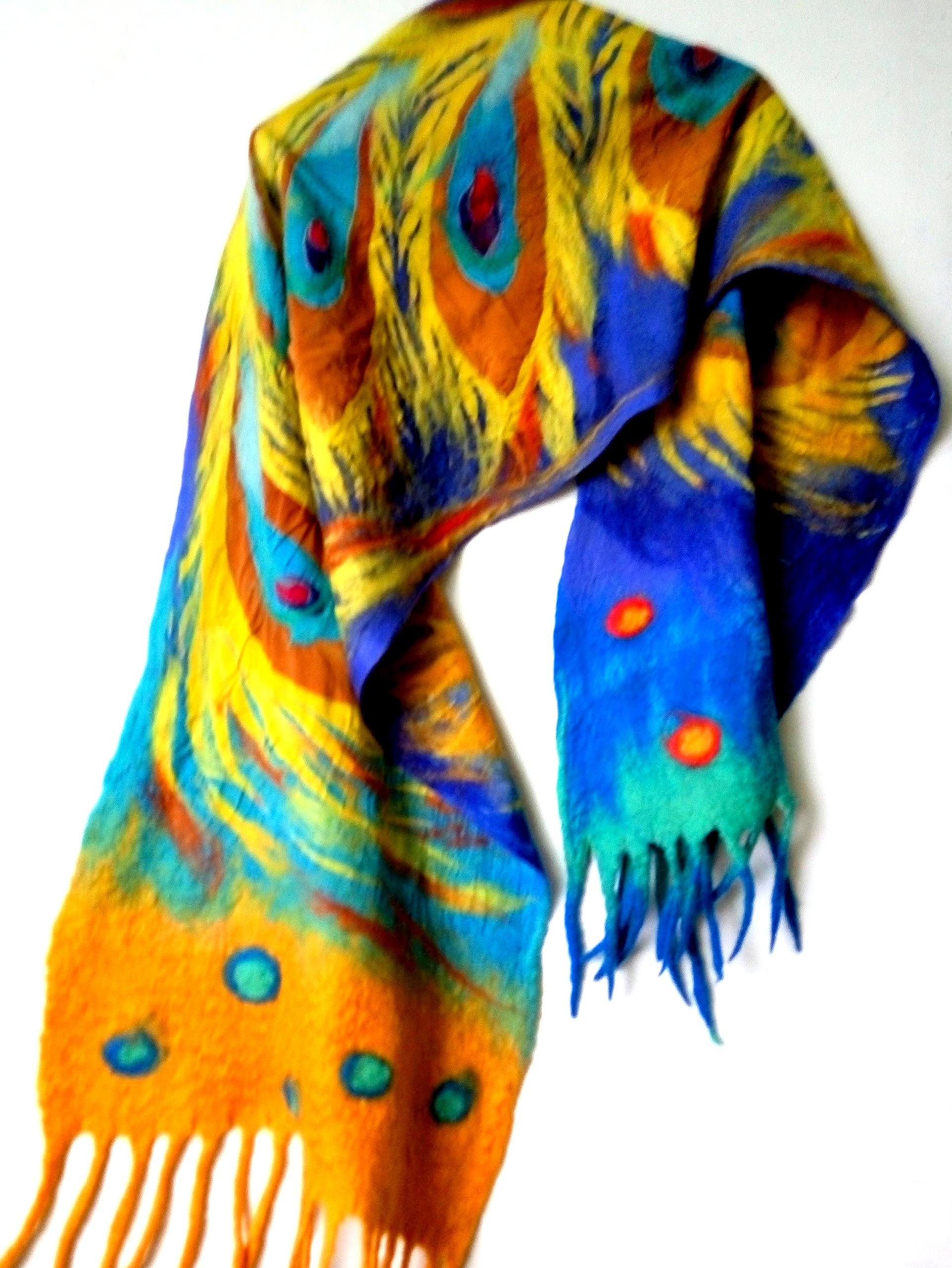 Feather silk shawl Hand painted Firebird scarf gift for sister