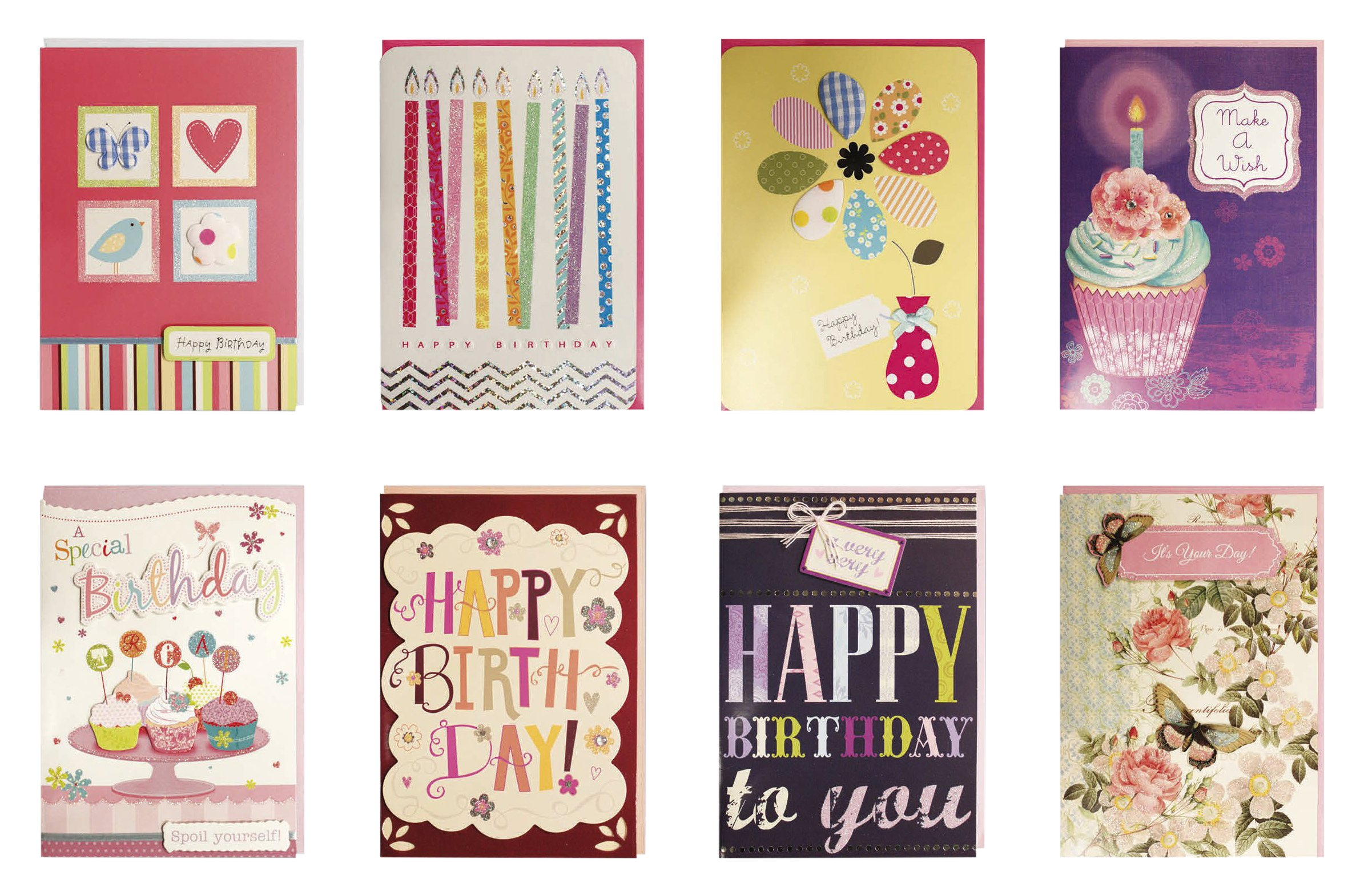 Birthday Cards Assorted Handmade Embellished Box Set Bulk Assortment For Her 8 Piece