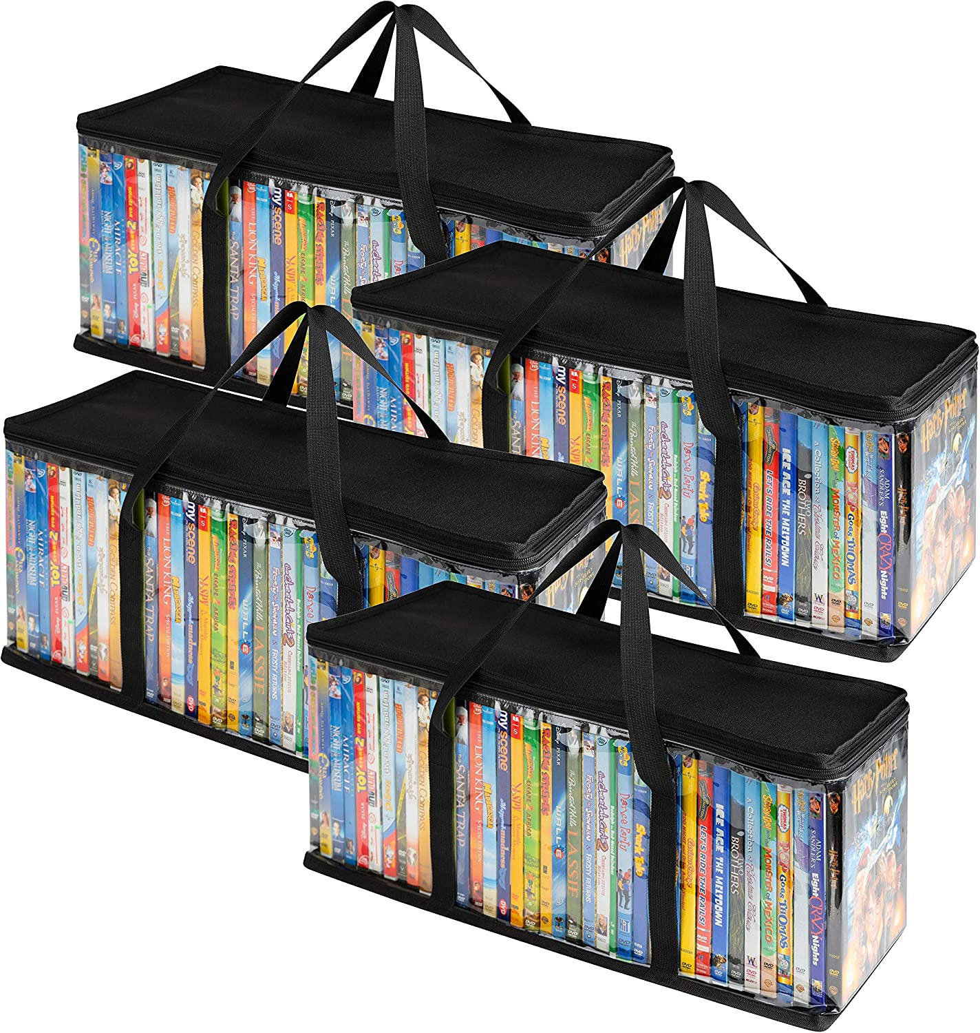 Stock Your Home DVD Storage Bags (4 Pack) - Transparent PVC Media Storage - Water Resistant DVD Holder Case with Handles - Clear Plastic Carrying Game Bag Storage for DVDs, CDs, Video Games, Books