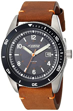bb4e68ef3 Image Unavailable. Image not available for. Color: Armitron Adventure  Unisex AD/1002NVSVBN Solar Powered Date Function Dial Brown Leather Strap  Watch