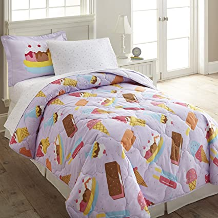 CA 5 Piece Kids Brown Purple Candy Themed Comforter Twin Set, Sweet Treats  Bedding Ice