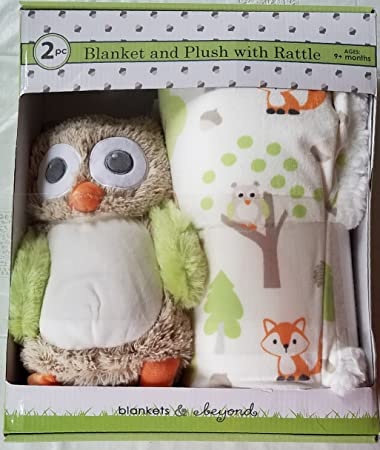 ab6911e567 Amazon.com  Luxury Super Soft Plush Blanket Set with Owl Rattle Toy for Baby  and Toddler Gift for Holiday Christmas Birthday Nursery  Baby