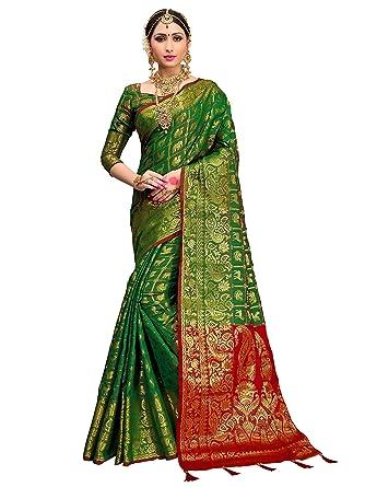 4d5a73c39a Amazon.com: ELINA FASHION Sarees for Women Patola Art Silk Woven Work Saree  l Indian Wedding Ethnic Sari with Blouse Piece (Green 1): Clothing
