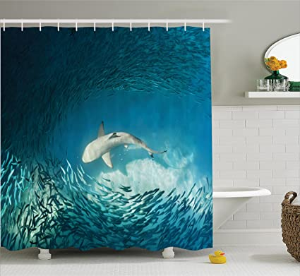 Ambesonne Sea Animals Decor Shower Curtain Set Shark And Small Fish In Ocean Wilderness Waterscape