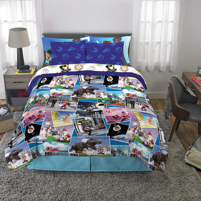 Franco Kids Bedding Super Soft Comforter and Sheet Set with Bonus Sham, 7 Piece Full Size, Mario