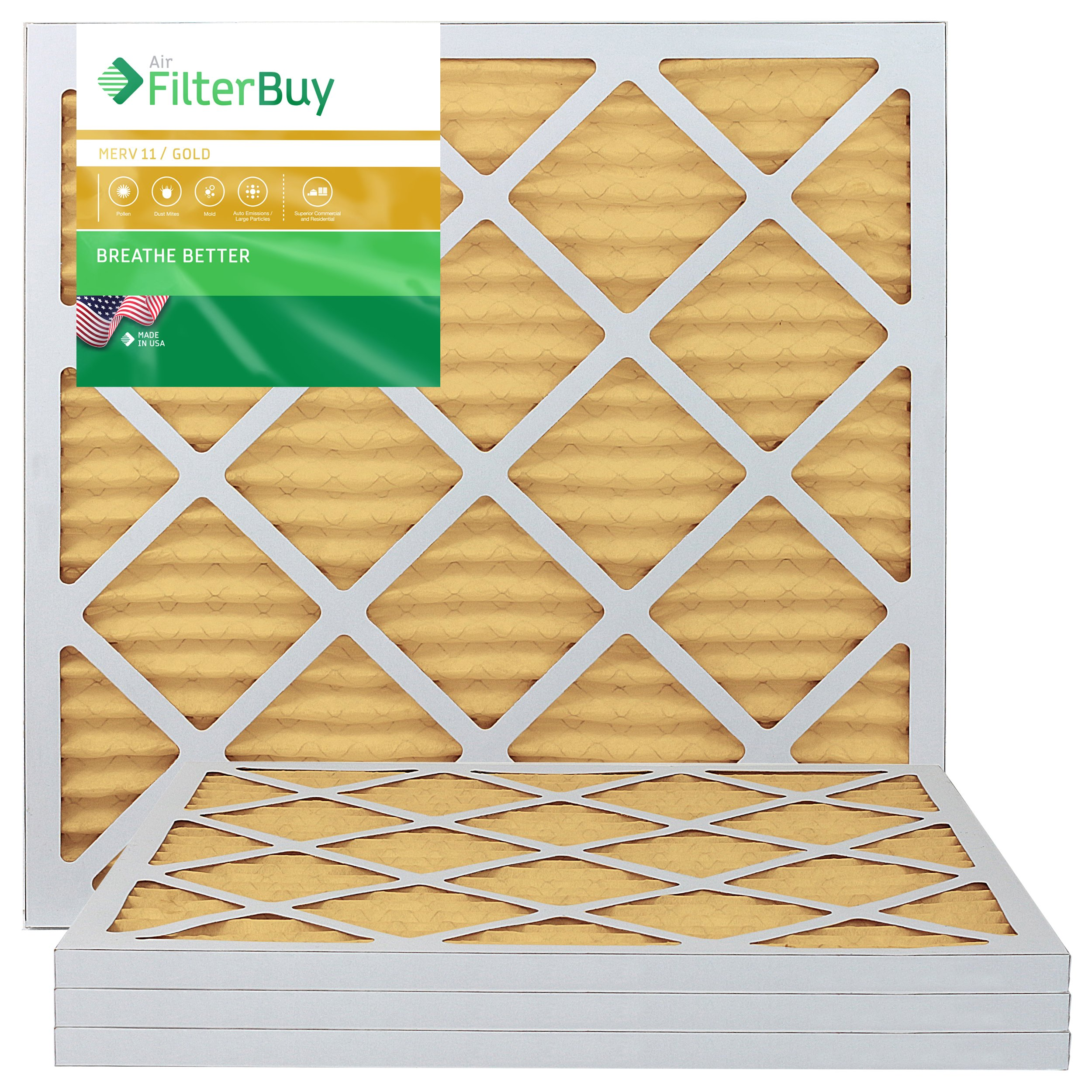 AFB Gold MERV 11 20x20x1 Pleated AC Furnace Air Filter. Pack of 4 Filters. 100% produced in the USA.