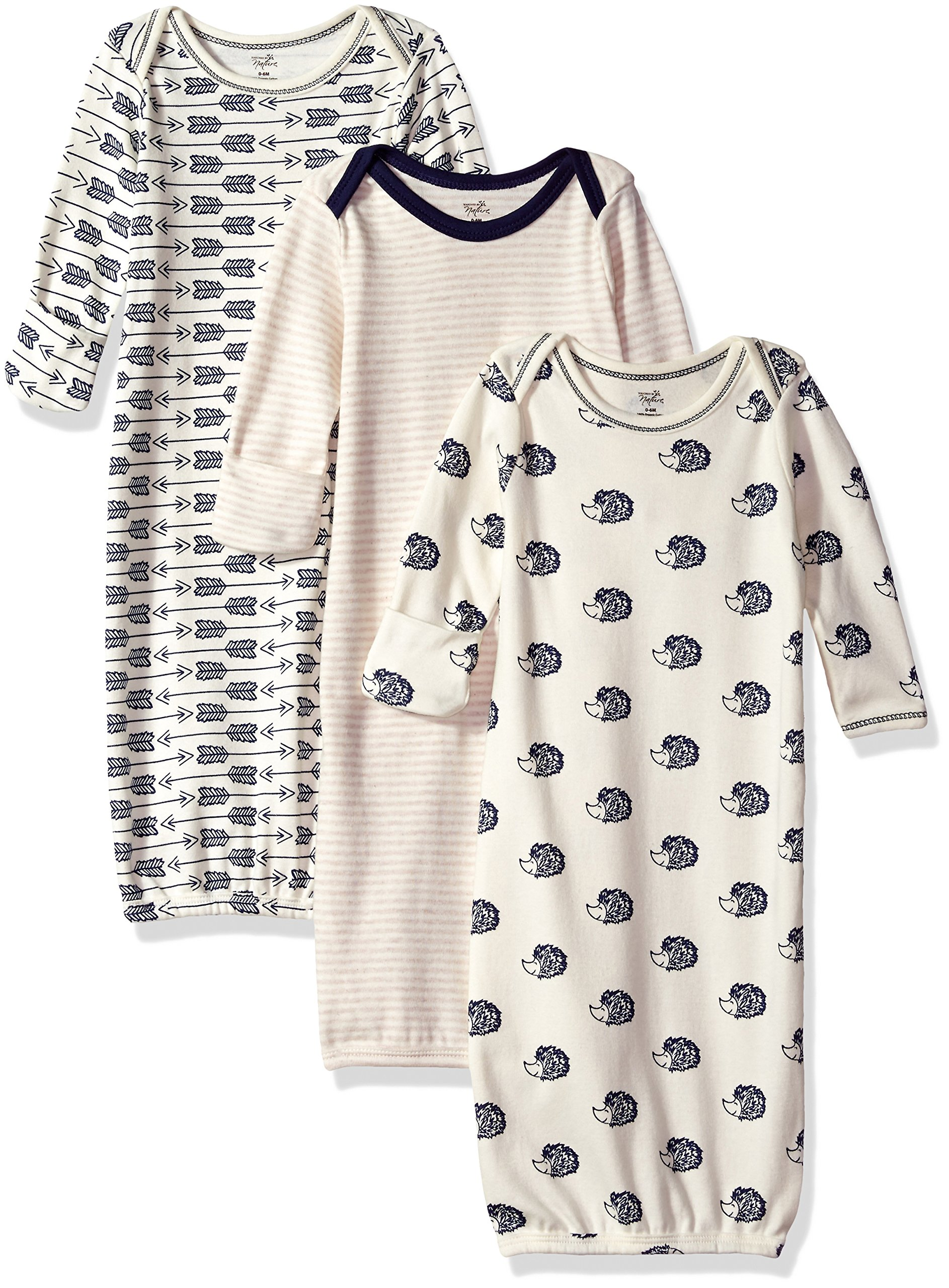 Touched by Nature Baby Organic Cotton Gowns, Hedgehog 3-Pack, 0-6 Months by Touched by Nature