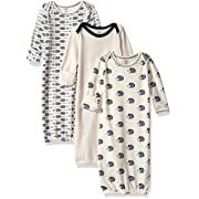 Touched by Nature Baby Organic Cotton Gown, Hedgehog 3-Pack, 0-6 Months